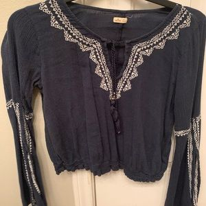 Beautiful Patterned Hollister Half-Sleeve Blouse